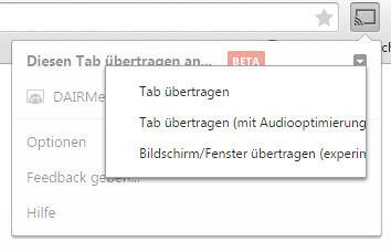 PC Inhalte an Chromecast übertragen