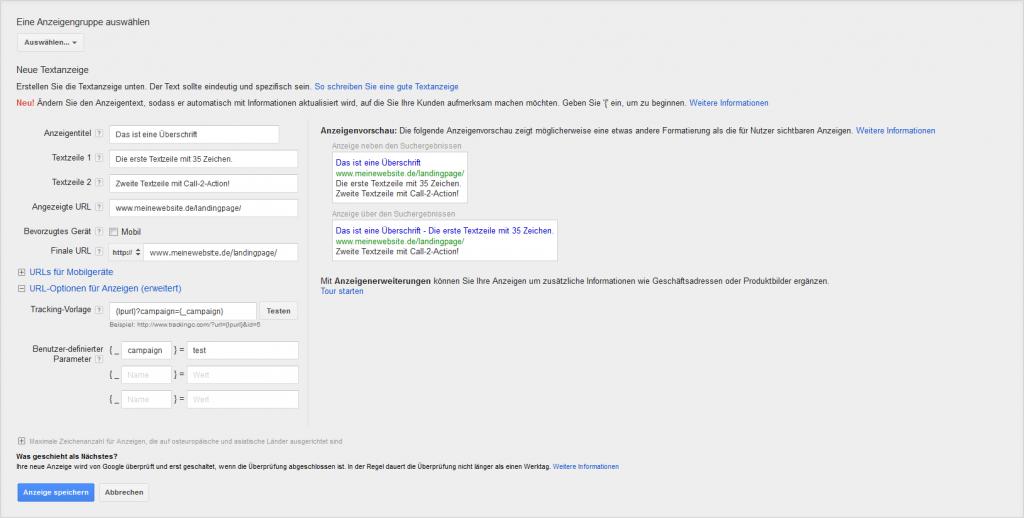 Neue AdWords Anzeige mit Tracking-Parameter