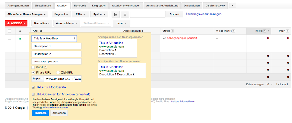 Finale URLs statt Ziel-URLs bei AdWords (Bild: Google)