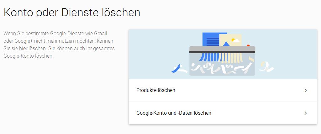 Google Konto oder Dienste löschen