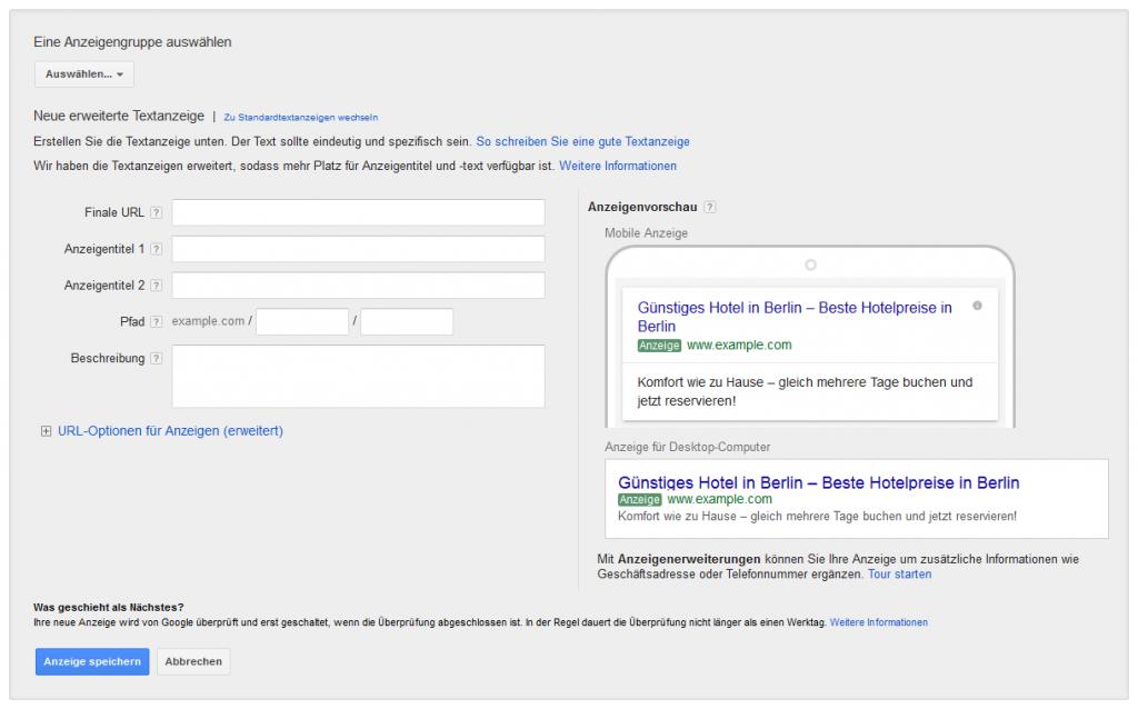Erweiterte Text-Anzeigen im Web-Interface