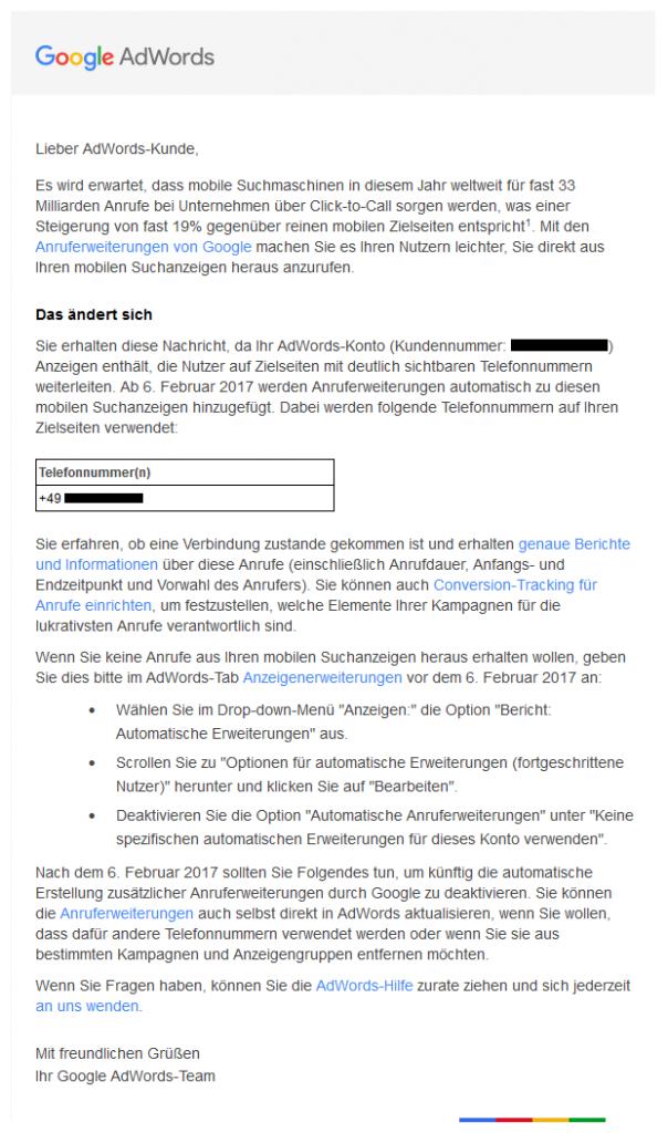 E-Mail zur automatischen Anruferweiterung