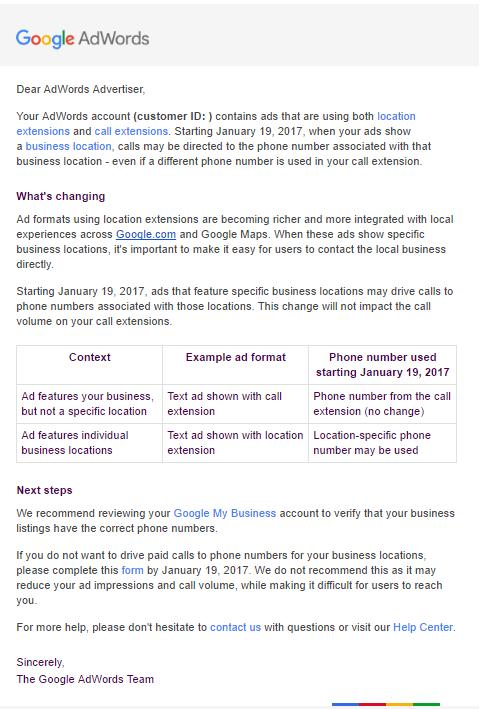 E-Mail zur lokalen Anruferweiterung (Bild: Search Engine Land)