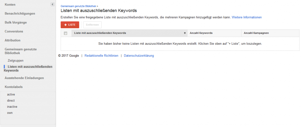 Listen mit ausschließenden Keywords in einem AdWords MCC