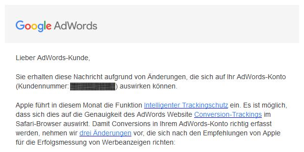 Google E-Mail zu Änderungen bei der Erfassung von Conversions in AdWords