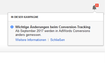 Wichtige Änderungen beim Conversion-Tracking Popup in Google AdWords
