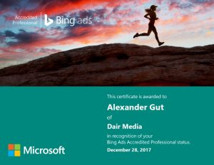 Bing Ads Accredited Professional Zertifikat