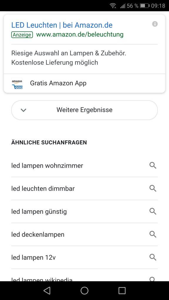 """Mobile Suchergebnisseite: """"Weitere Ergebnisse"""" zum NachladenWietere"""