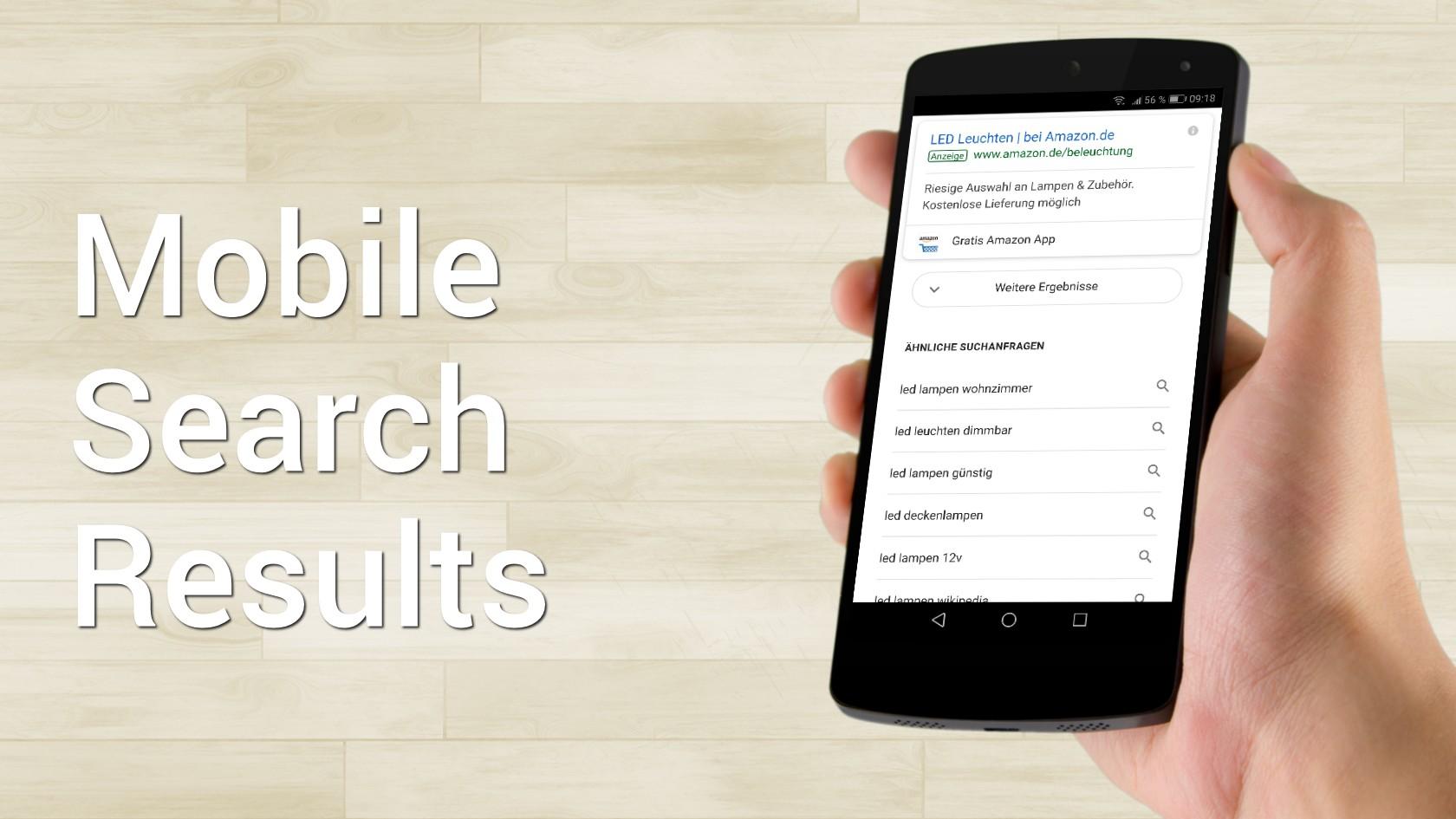 """Mobile Suchergebnissseite mit """"Weitere Ergebnisse"""" Button"""
