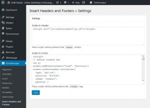 """Insert Headers and Footers"" Plugin Screenshot"
