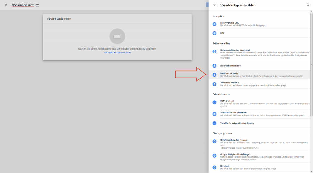 Google Tag Manager: Cookie-Variable anlegen