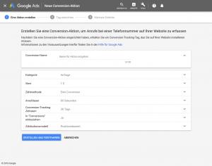 Google Ads Anruf Conversion einrichten: Schritt 3