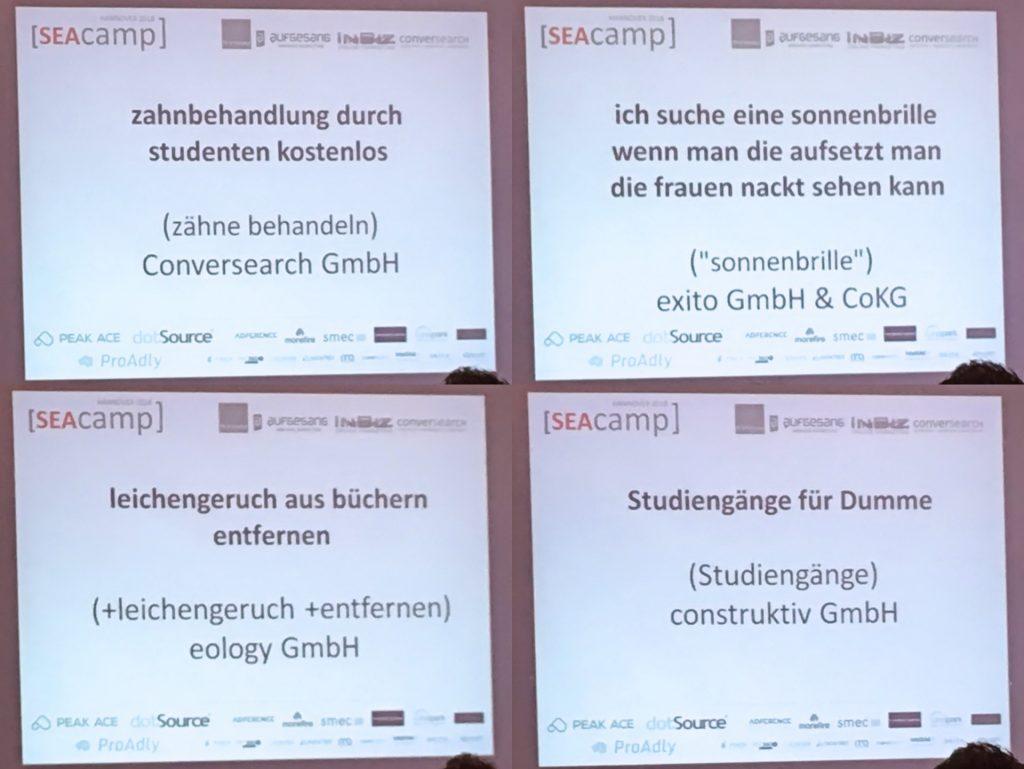 SEAcamp 2018 Hannover - Suchanfragen-Challenge