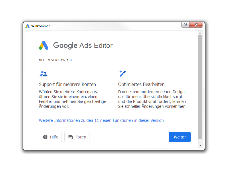 Google Ads Editor 1.0 Splash-Screen