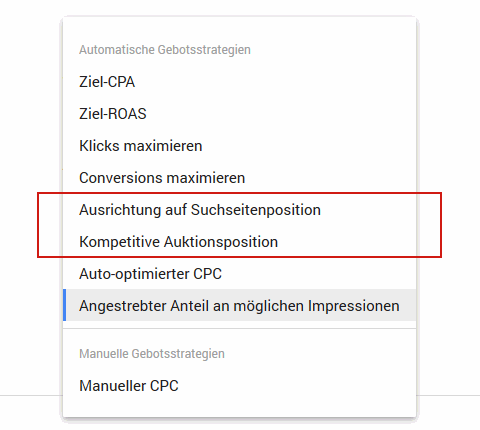 Automatische Gebotsstrategien in Google Ads