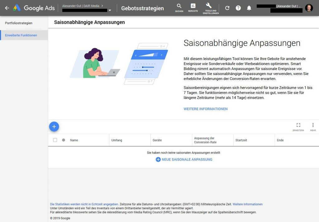 Google Ads Seasonality Adjustment in der Web-UI
