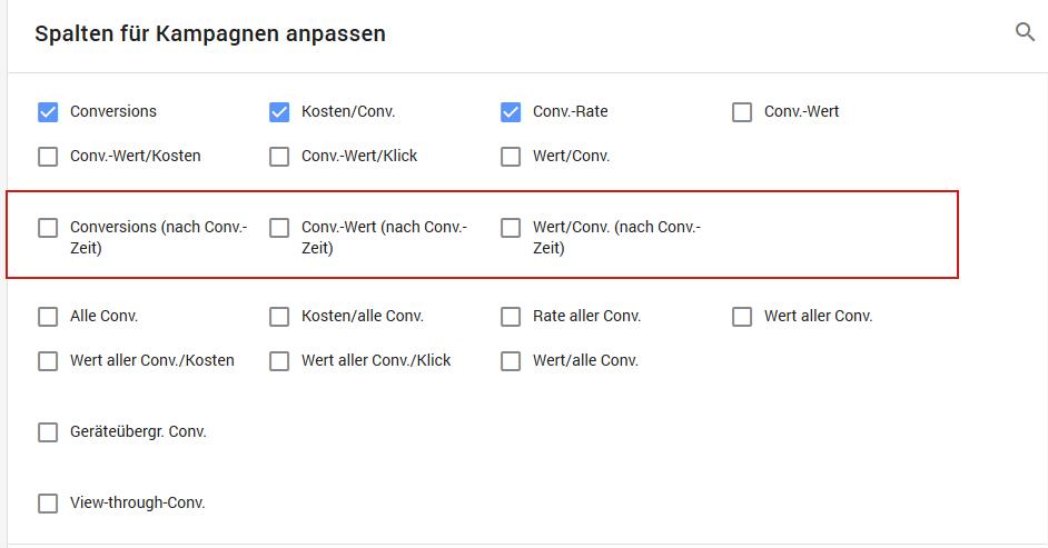 Google Ads Report Spalten nach Zeitpunkt der Conversion