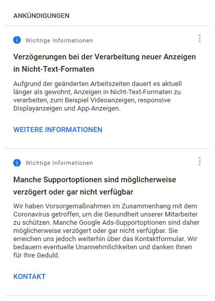 Google Ads Support Ankündigungen wegen COVID-19