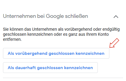 Google MyBusiness: Geschäft als vorübergehend geschlossen kennzeichnen