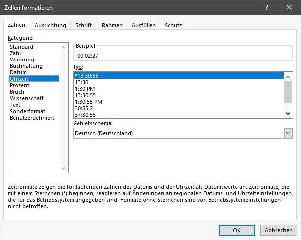 Durchschnittliche Sitzungsdauer in Excel formatieren: Zellen-Format auswählen