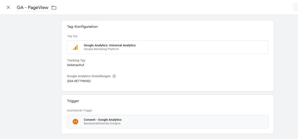 Google Analytics Tag mit Consent Event als Trigger