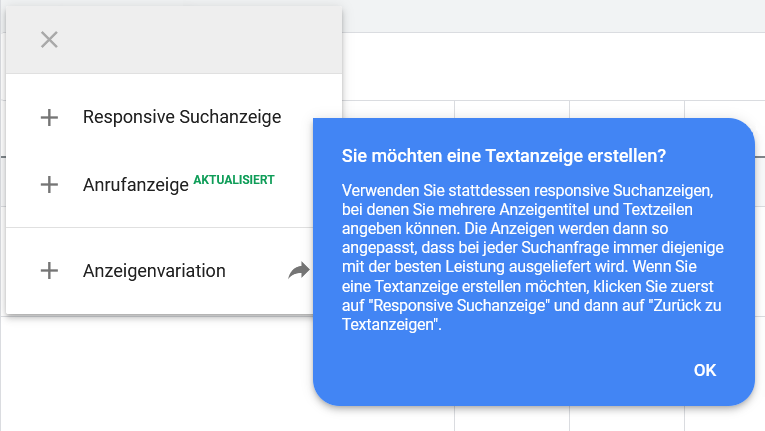 Hinweis auf Änderung bei Text-Anzeigen und Responsiven Suchanzeigen in Google Ads