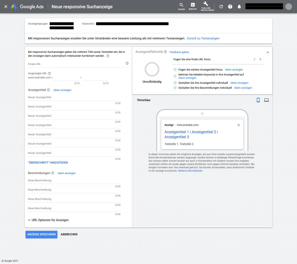 Responsive Suchanzeige in Google Ads erstellen - Web-Oberfläche