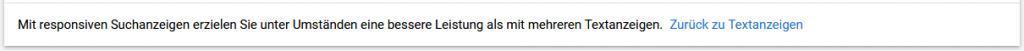 """Hinweis-Text auf """"Zurück zu Textanzeigen"""""""